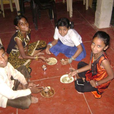 Children Enjoying Prasad After The Function
