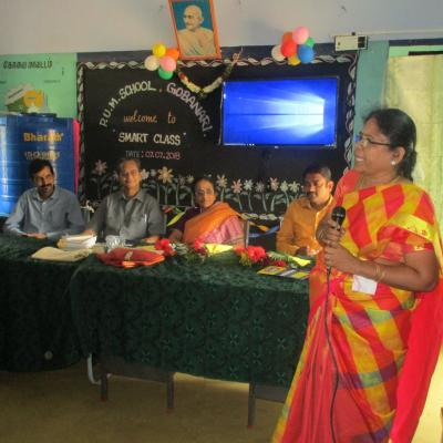 Hm Of School Mrs Parimala Welcomes The Audience