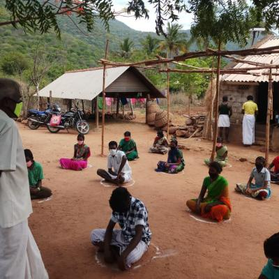 Villagers Following Social Distancing