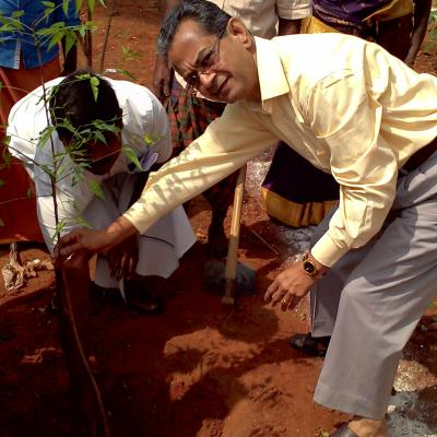 V.parthasarathy Mt Dpf Planting A Sampling To Commemorate The Occasion